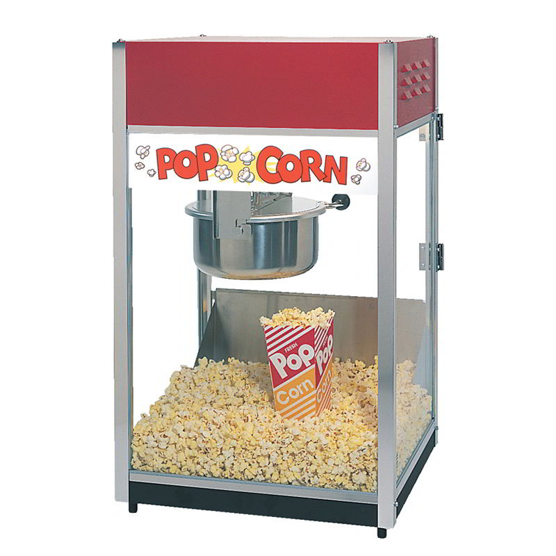 Gold Medal 2085 120208 Unimaxx-60 Popcorn Machine w/ 6-oz Spun Stainless Kettle & Red Dome, 120/208V