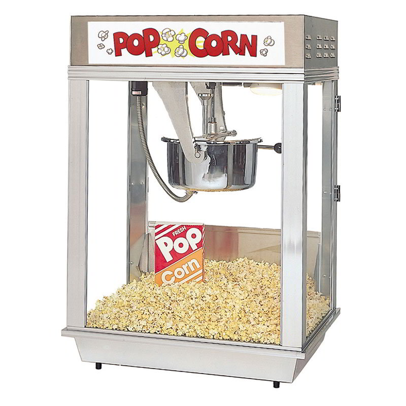 Gold Medal 2102E 120240 Deluxe Citation Popcorn Machine w/ 16-oz Kettle & White Dome, 120/240V