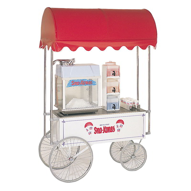 "Gold Medal 2129SK Food Cart for Sno Kones w/ Cover & Graphics, 57""L x 26""W x 90""H, White"