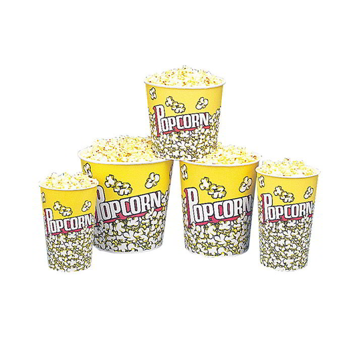 Gold Medal 2132PC 24-oz Popcorn Design Disposable Popcorn Butter Cups, 1,000/Case
