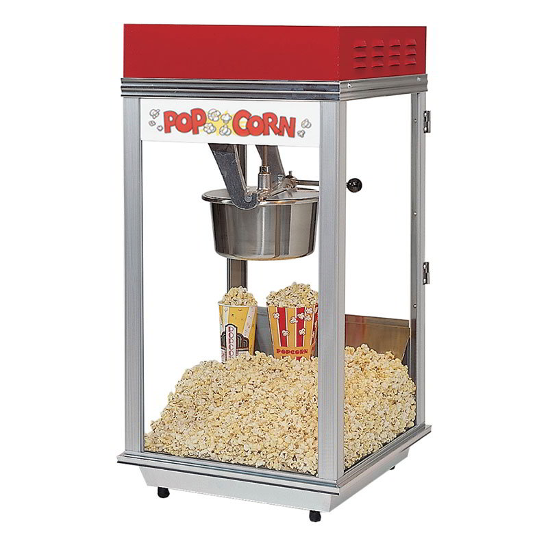 Gold Medal 2152 120240 Bronco Pop Heavy Duty Popcorn Machine w/ 8-oz Kettle & Red Dome, 120/240V