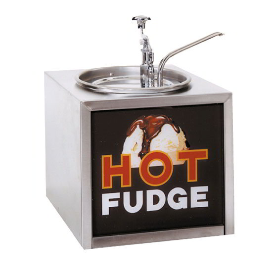 Gold Medal 2201 Pump-Style Hot Fudge Warmer w/ Oversized Water Tank & Sign, Stainless Cabinet