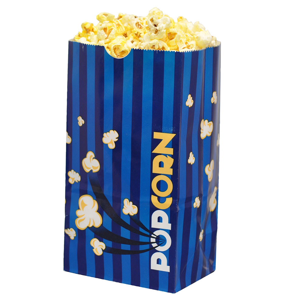 Gold Medal 2209 85-oz Blue Disposable Popcorn Bags - Laminated, Blue