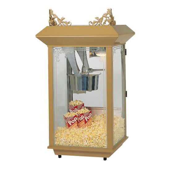 Gold Medal 2213 120208 Popcorn Machine, 12/14-oz Kettle, Antique Brass Finish, 120/208 V