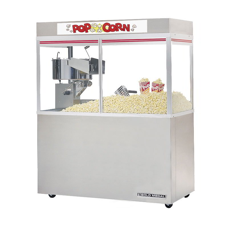 "Gold Medal 2228ED 120240 Cornado Popcorn Bar w/ 48-oz Kettle & 48"" Enclosed Cabinet, 120/240V"
