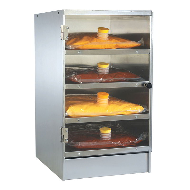 Gold Medal 2264 Nacho Cheese Bag Warmer w/ 4-Bag Capacity & Glass Door, Stainless