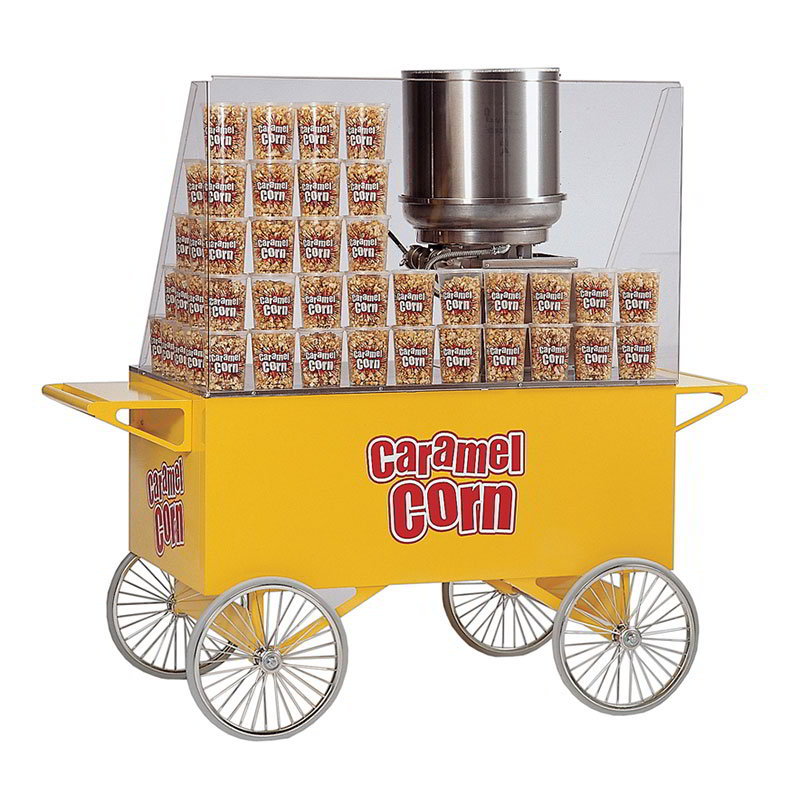 Gold Medal 2276 Lobby Master Caramel Corn Wagon w/ 4-Spoke Wheels, Yellow