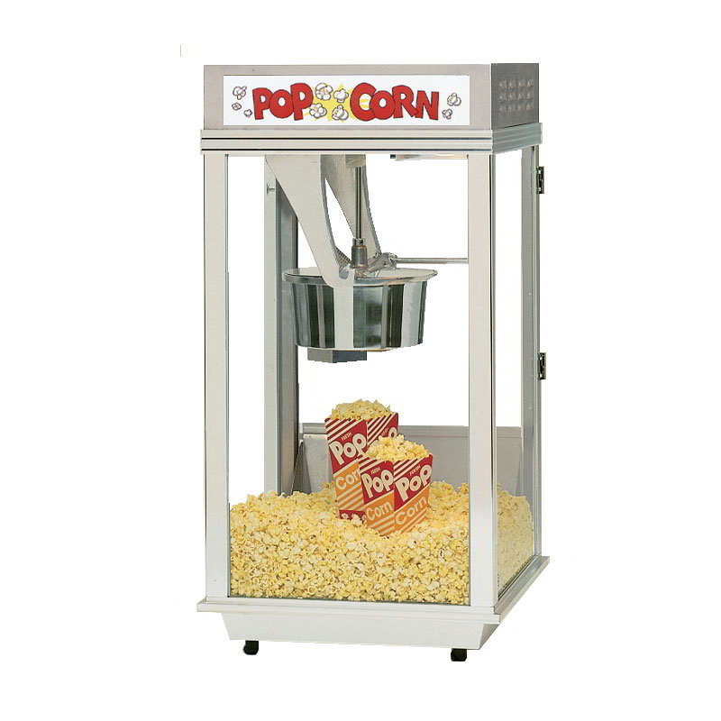 Gold Medal 2452 120240 Ultimate Bronco Popcorn Machine w/ 8-oz EZ Kleen Kettle & Stainless Dome, 120/240V