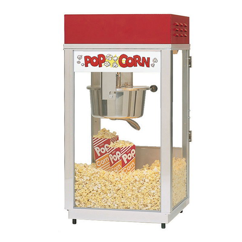 Gold Medal 2488 Super 88 Popcorn Machine w/ 8-oz EZ Kettle & Red Dome, 120v