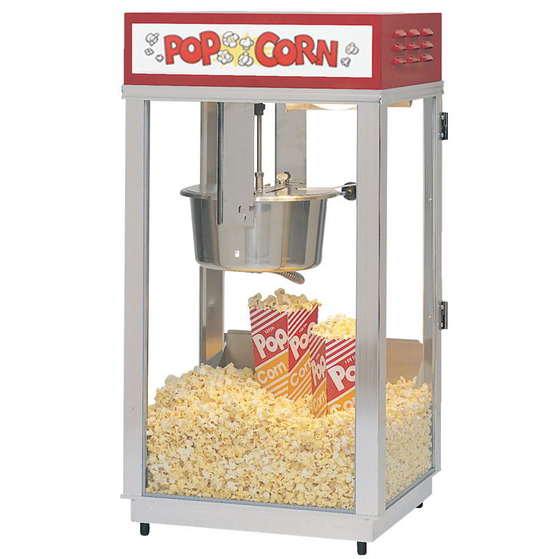 Gold Medal 2489 120240 Super 88 Popcorn Machine w/ 8-oz EZ Kettle & Red Dome, Sign, 120/240V