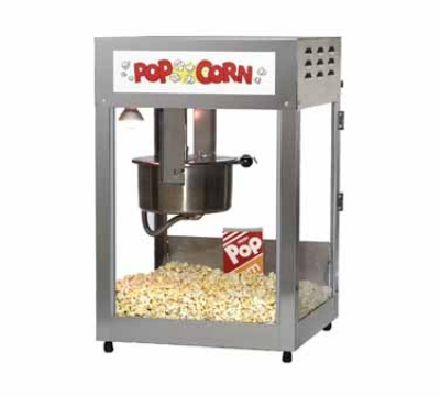 Gold Medal 2552LS 120208 Popcorn Machine, 12/14-oz EZ Kleen Kettle, Stainless Cabinet, 120/208