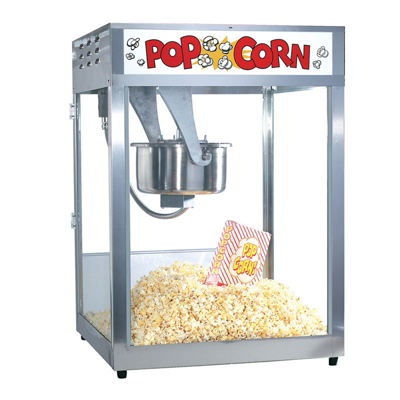 Gold Medal 2554 Front Counter Popcorn Machine, 16/18-oz EZ Kleen Kettle, 120v
