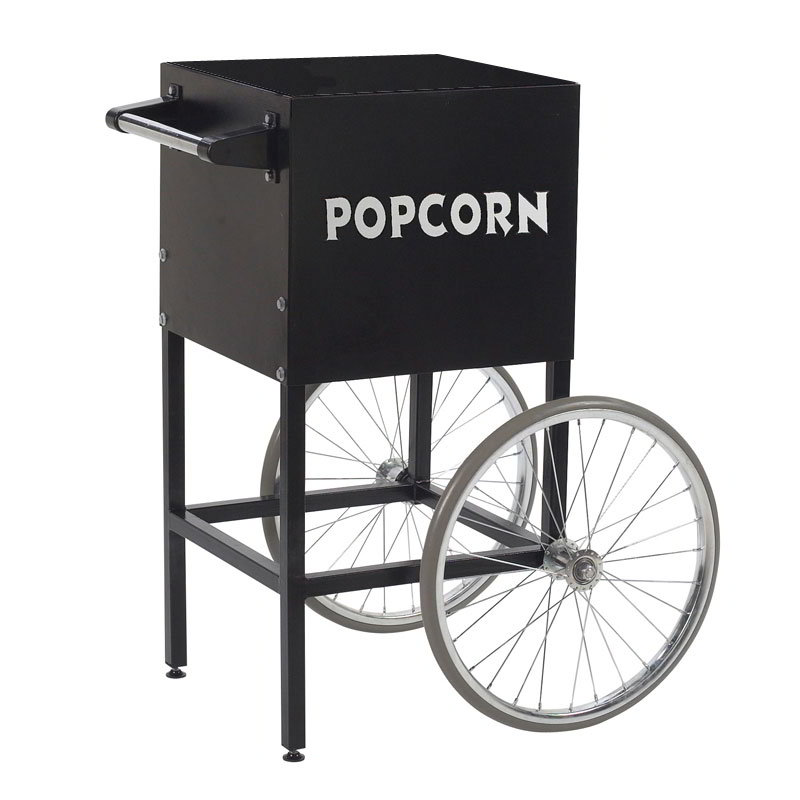 Gold Medal 2649BK Fun Pop Cart for 4-oz Popper w/ Storage Compartment & 2-Spoke Wheels, Black