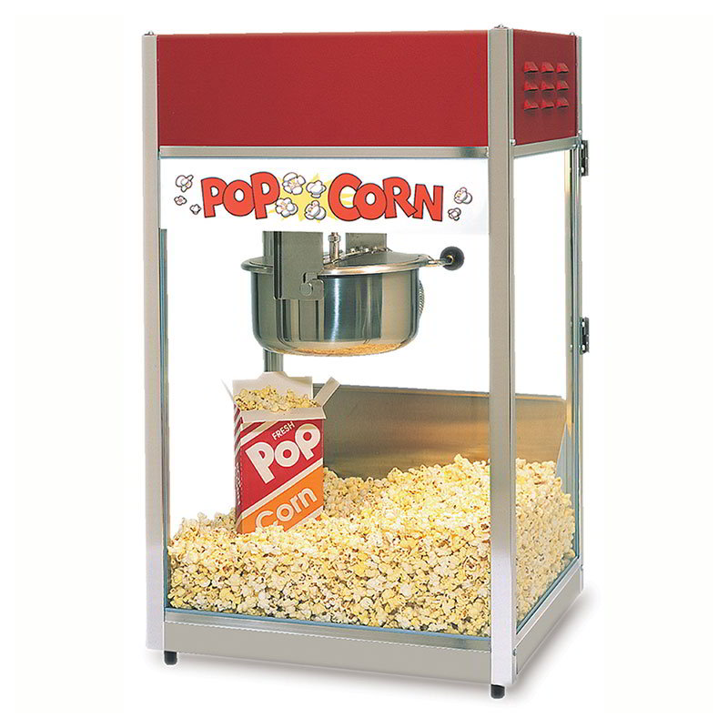 Gold Medal 2656 120240 Ultra-60 Special Popcorn Machine w/ 6-oz EZ Kleen Kettle & Red Dome, 120/240V