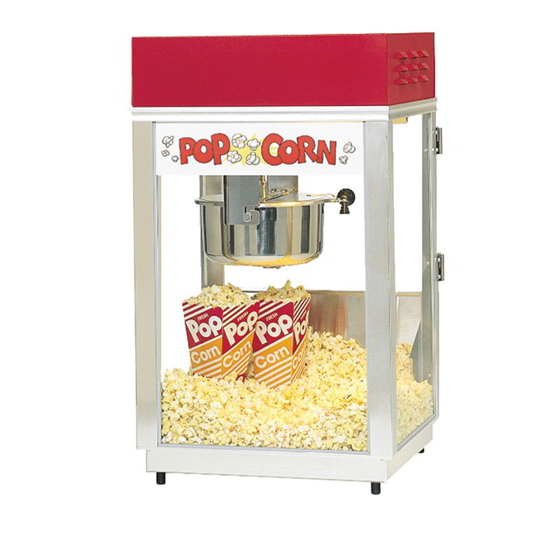 Gold Medal 2660 120240 Deluxe 60 Special Popcorn Machine w/ 6-oz Kettle & Red Dome, 120/240V