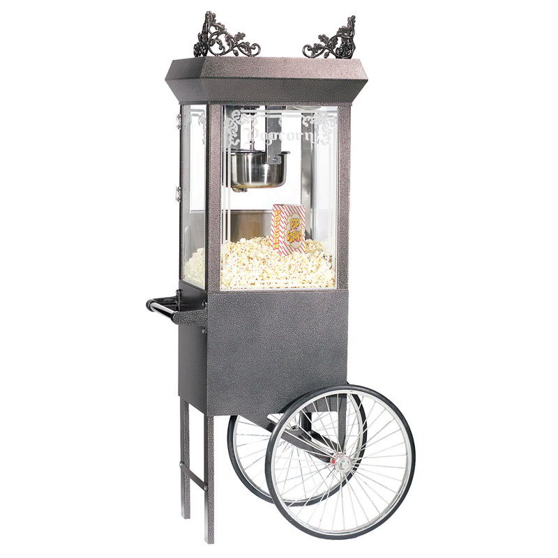Gold Medal 2660GTSV 120240 Antique Deluxe Popcorn Machine w/ 6-oz Kettle & Silver Vein Dome, 120/240V
