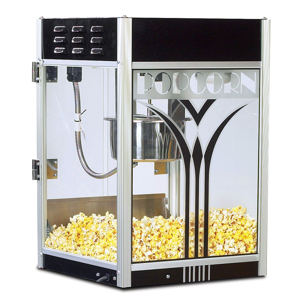 Gold Medal 2854 8-oz Retro Popcorn Machine w/ Etched Glass & Black Dome, 120/240V