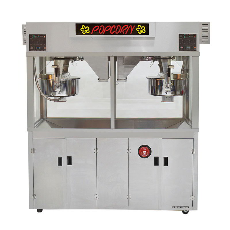 "Gold Medal 2973EDN 120240 Twin Popcorn Machine w/ (2) 52-oz Kettles, 72"" Cabinet, 120/240V"
