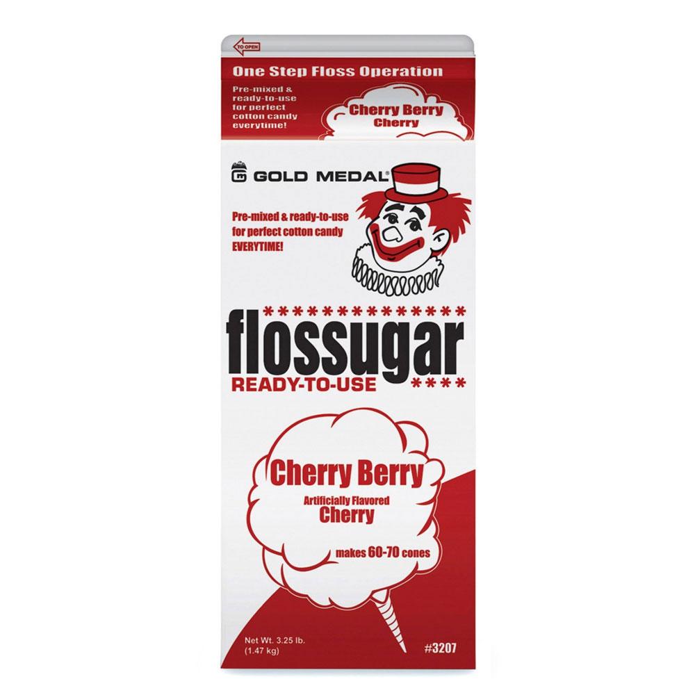 Gold Medal 3207 Cherry Berry Flossugar, (6) 0.5-gal Cartons/Case