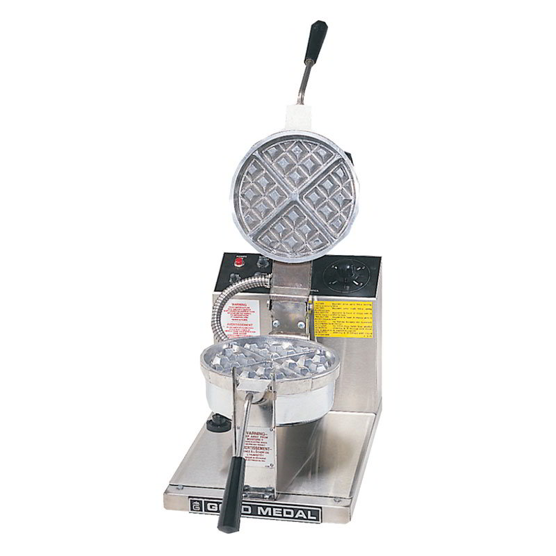 Gold Medal 5042 Belgian Waffle Baker w/ 7.25-in Removable Grid & Push Button Control, Stainless
