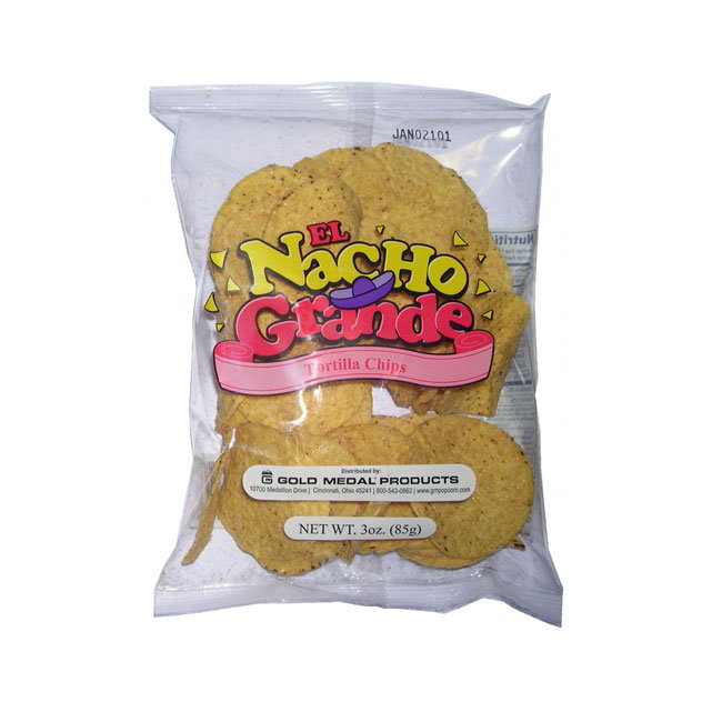 Gold Medal 5265 Round Nacho Chips Portion Pack w/ (48) 3-oz Bags