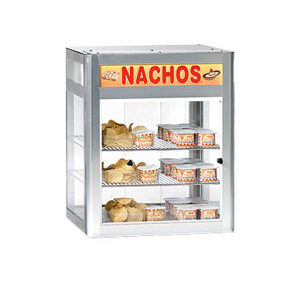 "Gold Medal 5510 19.5"" Countertop Heated Nacho Warmer w/ 2-Display Shelves & Illuminated Sign"