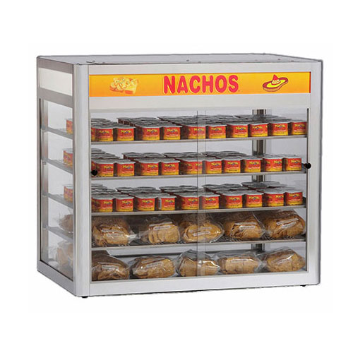 "Gold Medal 5513 32"" Countertop Heated Nacho Warmer w/ 4-Display Shelves & Illuminated Sign"