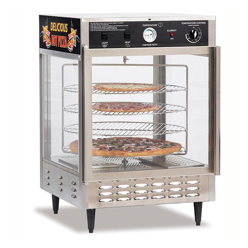 """Gold Medal 5550PZ 23"""" Countertop Merchandiser w/ (4) 18"""" Pizza Capacity & 1-Door"""