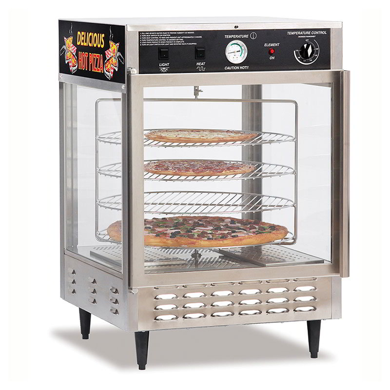 Gold Medal 5550PZD 23-in Countertop Merchandiser w/ (4) 18-in Pizza Capacity & 2-Pass Thru Doors