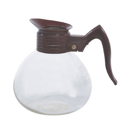 Gold Medal 7006 Glass Coffee Decanters w/ 64-oz Capacity, Brown Handle, 3/Case