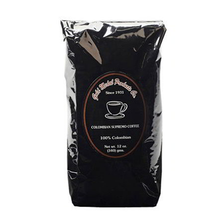 Gold Medal 7013 12-oz Bulk Pack Bags Colombian Supremo Coffee, 12-Foil Bags/Case