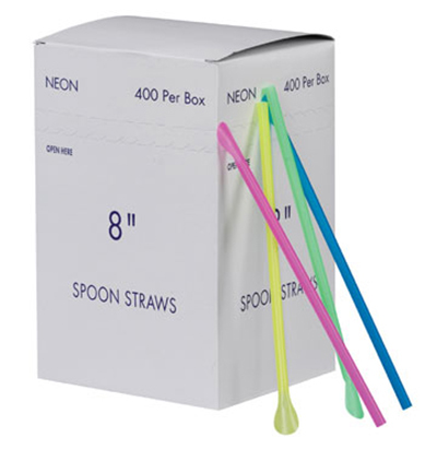 Gold Medal 1120 8-in Neon Plastic Disposable Spoon Straws , 10,000/Case