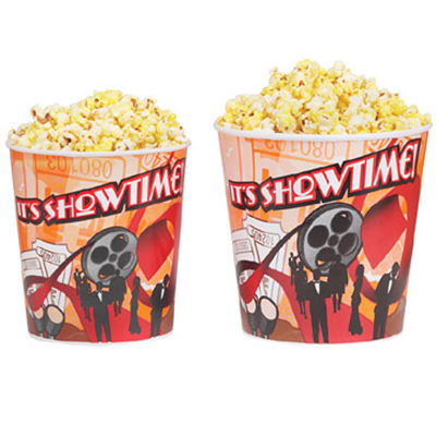 Gold Medal 2230T 130-oz Showtime Design Disposable Popcorn Cups, 300/Case
