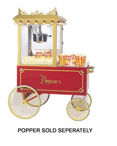 Gold Medal 2012 Popcorn Wagon w/ Stainless Countertop & 4-Spoke Wheels, Red, 64x34-in