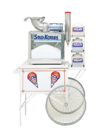 Gold Medal 2015SK Sno-Cone Cart w/ Left-Shelf & 2-Spoke Wheels, Stainless, White, 28x20-in