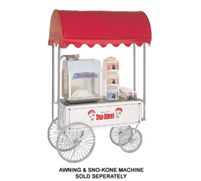 Gold Medal 2129SK SnoKone Wagon w/ 4-Spoke Wheels & Sno-Kones Graphics, Stainless, White