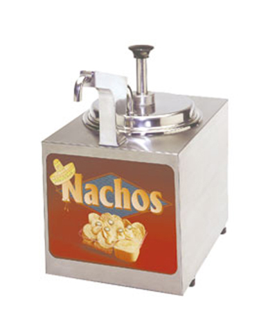 Gold Medal 2197NS Pump-Style Nacho Cheese Warmer w/ Heated Spout & Lighted Sign, Cabinet Design