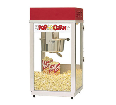 Gold Medal 2488 120240 Super 88 Popcorn Machine w/ 8-oz EZ Kettle & Red Dome, 120/240V