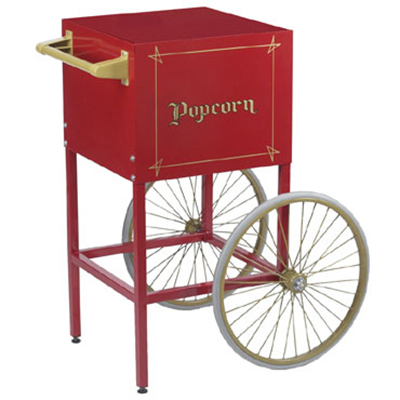 Gold Medal 2649CR Fun Pop Cart for 4-oz Popper w/ Storage Compartment & 2-Spoke Wheels, Red