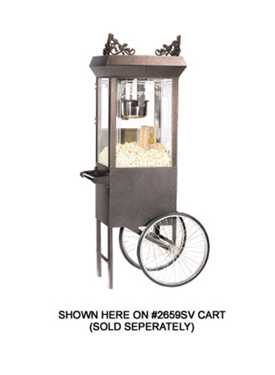 Gold Medal 2660GTSV 120208 Antique Deluxe Popcorn Machine w/ 6-oz Kettle & Silver Vein Dome, 120/208V