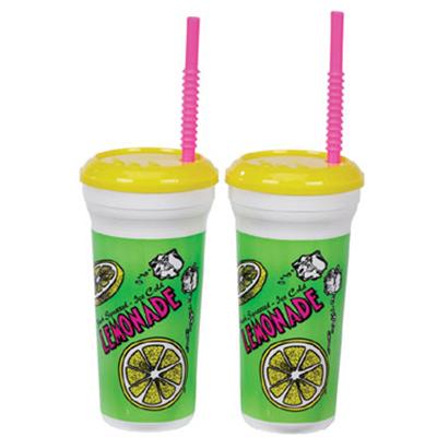 Gold Medal 5306 32-oz Lemonade Original Disposable Cups w/ Lids & Straws, 300/Case