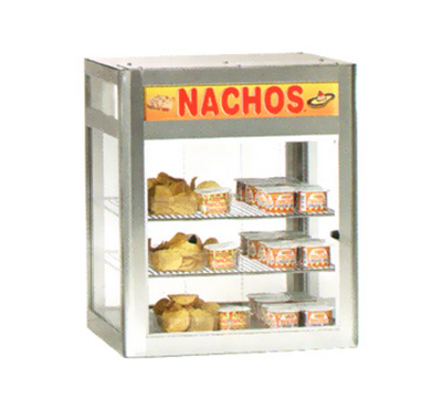 Gold Medal 5510 19.5-in Countertop Heated Nacho Warmer w/ 2-Display Shelves & Illuminated Sign