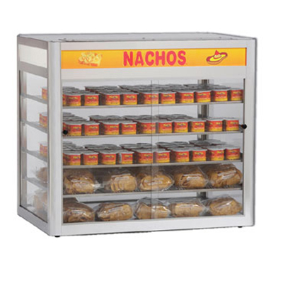 Gold Medal 5513 32-in Countertop Heated Nacho Warmer w/ 4-Display Shelves & Illuminated Sign
