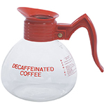 Gold Medal 7007 Glass Decaf Coffee Decanters w/ 64-oz Capacity, Orange Handle, 3/Case