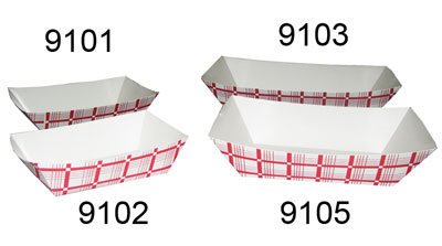 Gold Medal 9101 Disposable Food Tray, Red & White, 1,000/Case