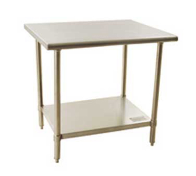 """Eagle Group BPT2436ELX Work Table - Flat Top & Front Rear Rolled Edge, 36x24"""", 18/430-Stainless"""