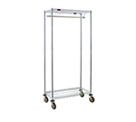 "Eagle Group UR1836C 18x36"" Mobile Coat Rack - Wire Shelves, Hanger Tube, 74"" Posts, Chrome"