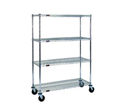 "Eagle Group CC1848C-SB Stem Caster Cart - (4) 18X48"" Shelf, Resilient Tread, 2-Brake, Chrome-Plated"
