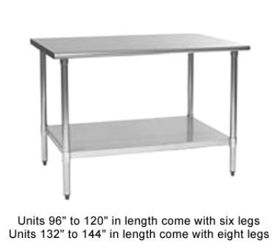 "Eagle Group T2448B-1X 48x24"" Work Table - 16/430 Top, Galvanized Undershelf"