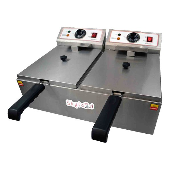 Skyfood FED-20-N Countertop Electric Fryer - (2) 10-lb Vats, 110v